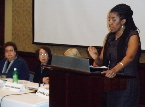 Avis Jones-DeWeever speaks at congressional briefing on women.