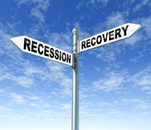 road signs for recession and recovery