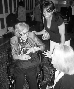 Mariam K. Chamberlain (left) with Angela Carlberg, the 2007-2008 Mariam K. Chamberlain Fellow (center) and Susan McGee Bailey (bottom right) of the Wellesley Centers for Women, at Dr. Chamberlain's 90th birthday bash in New York City in 2008.