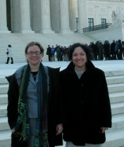 Lenora M. Lapidus, Director, ACLU Women's Rights Project, and Ariela Migdal, Senior Staff Attorney, ACLU Women's Rights Project, on the steps of the U.S. Supreme Court.
