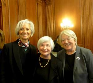 IWPR President Heidi Hartmann (right) with IMF Managing Director Christine LaGarde and Fed Chair Janet Yellen at Chair Yellen's ceremonial swearing in ceremony in Washington, DC on March 5, 2014.